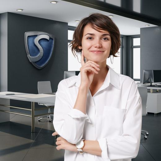 Woman standing in office, super brokers logo