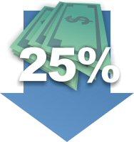 Down 25%